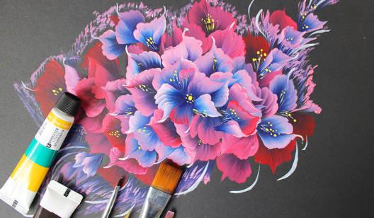 排笔触笔花型彩绘课--美甲3D排笔大师课