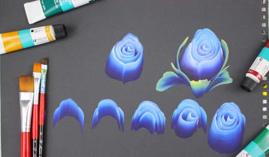 排笔玫瑰步骤分解课--美甲3D排笔大师课