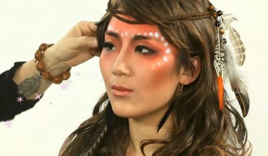 仿妆特效之异域风情印第安土著妆扮----暗黑系特效化妆