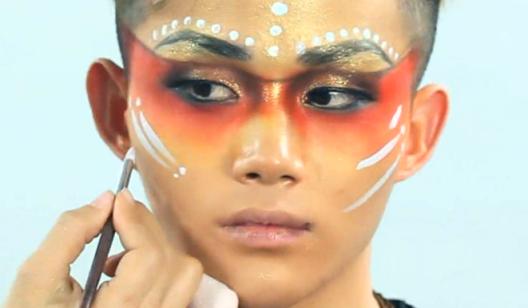 帅气仿妆特效之印第安土著妆容----暗黑系特效化妆